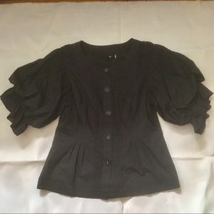 Black cotton button front puffy shirt/blouse